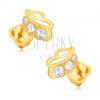 Fülbevaló 9K sárga aranyból - csillogó levélkörvonal három kővel