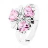Ezüst színű gyűrű, virág rózsaszín szív cirkóniákkal