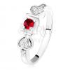 Fényes gyűrű - 925 ezüst, piros kerek cirkónia a mélyedésben, szív, átlátszó kövek