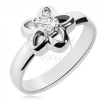 Acél gyűrű ezüst színben, virág körvonal átlátszó cirkóniával
