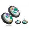 Hamis piercing fülbe, átlátszó, akryl kerekek, színes törmelékek