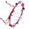 Fonott karkötő - piros, színes gyöngyökkel díszítve