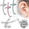 Fake piercing a fülbe acélból - színes ívelt kereszt cirkóniákkal