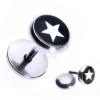 Hamis piercing a fülbe acélból - fehér csillag fekete körben