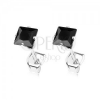 925 ezüst fülbevaló, csillogó négyzet alakú fekete cirkónia, 4 mm