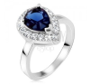 Ezüst gyűrű, kék könnycseppes kő cirkóniás szegéllyel gyűrű