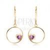 Fülbevaló 9K sárga aranyból - vékony fényes karika lila ametiszt szívvel