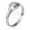 925 ezüst gyűrű, kerek foglalat cirkóniával, két karika