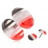 Fake plug akrylból, kidomborodó kerekek, piros, fehér és fekete sávok