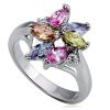 Fényes fém gyűrű - virág, színes könnycsepp- és kör alakú cirkóniák