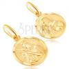 Arany kerek medál - Jézus és a szent Anya keretben