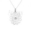 Nyakék 925 ezüstből - lánc, átlátszó cirkónia, lapos kivágott virág