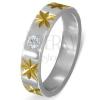 Ezüst színű acél gyűrű arany színű csillagokkal és átlátszó cirkóniával