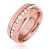 Rézszínű acél gyűrű, kivágások átlátszó cirkóniával