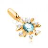 375 arany medál - virág, átlátszó kövekkel és kék topázzal díszítve