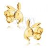 Fülbevaló 14K sárga aranyból - fényes Playboy nyuszi fej