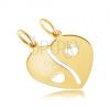 Kettősmedál 14K sárga aranyból - megtört fényes szív, szív kivágások