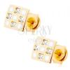 585arany fülbevaló - négyzet sakkmintával, átlátszó cirkóniák, fehér fénymáz