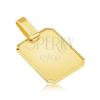 Medál 14K sárga aranyból - fényes téglalapos tábla, lemetszett szélek