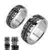 Sebészeti acélból készült gyűrű - fekete bevésett dísz, kereszt
