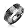 Sebészeti acélból készült gyűrű - krokodil bőr