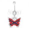 Köldökpiercing, 316L acél, pillangó, amerikai déli zászló motívum