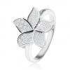 925 ezüst gyűrű, ragyogó cirkónia virág tiszta kövekkel