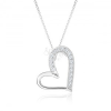 Nyakék 925 ezüstből, aszimmetrikus szívkörvonal, átlátszó cirkóniák
