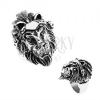Gyűrű 316L acélból, ezüst szín, oroszlán fej, pánt tollakkal, koponyák