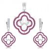 Fülbevaló és medál szett, 925 ezüst, virág körvonallal, tiszta és rózsaszín cirkónia