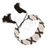 Állítható karkötő gyöngyökből, rombuszok szürke, rózsaszín és fekete színben