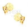 Fülbevaló 9K sárga aranyból - csillogó virág gravírozott szirmokkal