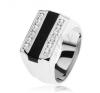 Gyűrű 925 ezüstből, fekete fénymázas sáv, átlátszó cirkóniás vonalak gyűrű