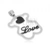 Acél medál - csillogó maci sziluett, fekete szív, Love felirat