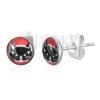 Kerek acél fülbevaló - fekete macskafej, piros háttér