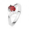 Elegáns gyűrű 925 ezüstből, rubinvörös cirkónia, hullámos szárak