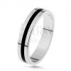 925 ezüst karikagyűrű - fénymázas fekete sáv, sima és fényes felszín