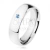 Gyűrű acélból, ezüst árnyalat, tükörfényes felület, világoskék cirkónia