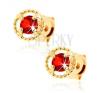 Fülbevaló 14K sárga aranyból - rovátkolt kör kontúr, piros gránát fülbevaló