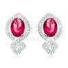 Csillogó fülbevaló, 925 ezüst, piros-rózsaszín ovális alakú, átlátszó cirkóniás kerettel
