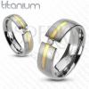 Titánium ezüst gyűrű - arany vonal, cirkónia