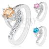 Ezüst színű gyűrű, hullámos szárvégek, kerek színes cirkónia