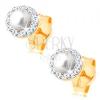 Fülbevaló 14K sárga aranyból - gömbölyű gyöngy átlátszó csillogó szegéllyel