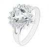 Ezüst színű gyűrű, átlátszó csiszolt szív kerek cirkóniás szegéllyel