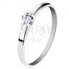 Gyűrű 14K sárga aranyból - fényes sima szárak, csillogó átlátszó gyémánt