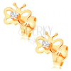 Fülbevaló 14K sárga aranyból - fényes pillangó kivágásokkal, átlátszó cirkónia