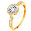 14K sárga arany gyűrű - átlátszó cirkónia további apró cirkóniával szegélyezve