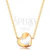 585 arany nyaklánc - fényes szív fehér fénymázzal, lánc