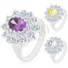 Ezüst színű gyűrű, nagy csillogó cirkóniás virág, levélkék