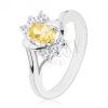 Fényes gyűrű sárga ovális cikróniával, ezüst szín, átlátszó cirkóniák